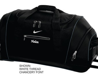 Personalized Travel Bag, Nike Roller Duffel Bag, Custom Wheeled Travel Bag, Monogrammed Bag, Custom Work Bag for Her. TG0239