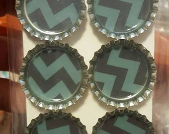 Black and Teal Chevron Bottle Cap Magnets