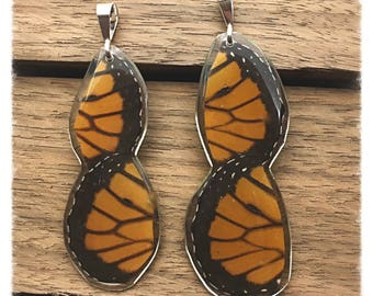Real Butterfly Wing Jewelry; Monarch Jewelry; Infinity Monarch Pendant; HIND wings; Butterfly Pendant; Sterling Silver; Insect Jewelry