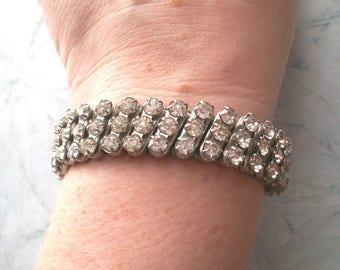 """Vintage Clear glass Rhinestone Accordian Stretch Bracelet,silver tone,5.5"""" wrist,wedding jewelry,small,3 rows"""