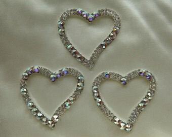 3 Swarovski Jeweled Open Hearts Sparkle Sparkle Handcrafted Multi Crafting