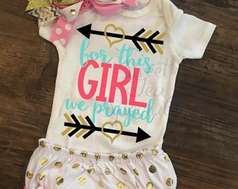 FREE SHIPPING***For this Girl We Have Prayed Baby Bodysuit, youth Sizes Available