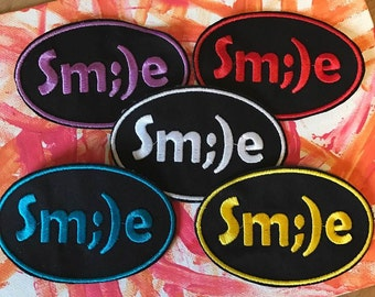 Sm;)e patch, smile patch, smiley patch, smiley face, happy face, gift under 10, gift for her, gift for him, be happy, funny face funny patch
