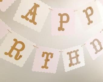1st Birthday Banner, Pink and Gold Birthday Banner, Baby Shower Banner, Party Decoration, Birthday Decoration
