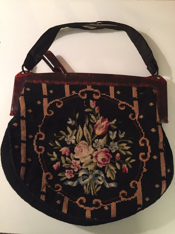 Needlepoint Handbag Large with Lucite handle and beautiful lining As Is handle