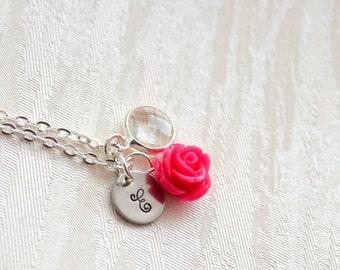 Fuchsia Rose Necklace - Bridesmaid Necklace - Fuchsia Flowergirl Necklace - Fuchsia Wedding - Vintage Wedding - Hot pink Rose Necklace gift
