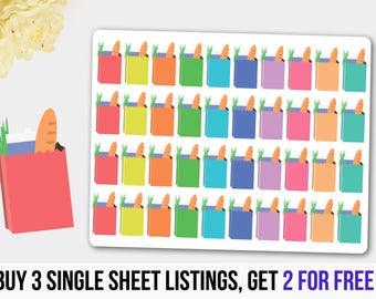 Grocery  Stickers,  Grocery Planner Stickers, Grocery Bag Stickers, Planner Stickers, Erin Condren Planner, Filofax Stickers