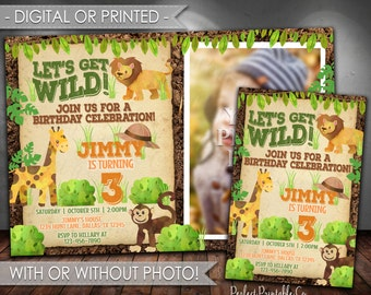 Safari Birthday Party Invitation, Jungle Birthday Party Invitation, Let's Get Wild Birthday Invitation, Lion, Giraffe, Monkey, Boy #606