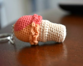 Crocheted Ice Cream Keychain