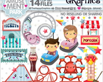 Amusement Park, Clipart, 80%OFF, Park Graphics, COMMERCIAL USE, Planner Accessories, Carnival Clipart, Summer Clipart, Theme Park