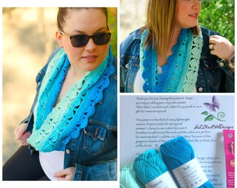 Ombre Crochet Scarf Kit | Includes Yarn, Pattern & Crochet Hook | Crochet Cowl | Infinity Scarf | Spring Scarf | Summer Scarf | Cotton