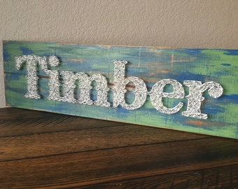 Name Nail and String Art on Distressed Wood Sign - Baby Boy or Girl Nursery Decor