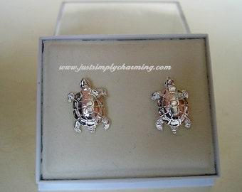 One pair of  Sterling Silver  Tortoise Stud Earrings
