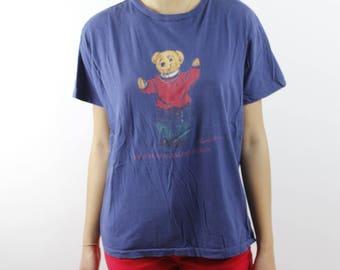 Rare Vintage 90s Polo Bear Tee - Polo By Ralph Lauren Navy Blue Polo Bear T Shirt - Made In USA - Sz Medium