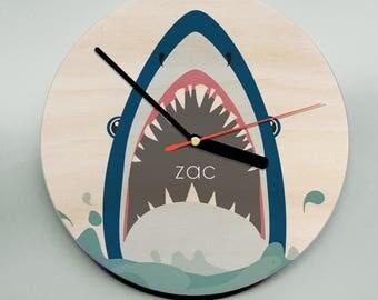 Personalised Clock / Shark Clock / Kids Clock / Boys Clock / Personalised Wall Art / Shark
