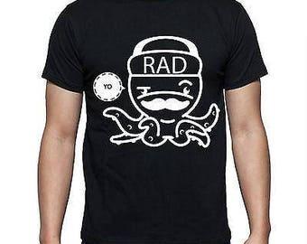 Mens Designer Octopus Printed Yo Rad Chill  Crew Top New - Printed Cotton Black T-Shirt