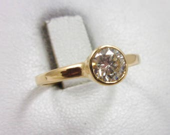 Solid 14K Yellow Gold 0.54 CT Bezel Set Diamond Solitaire Engagement Ring Size 7