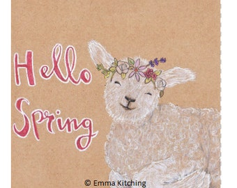 Hello Spring - Easter or Spring Greetings card