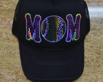Baseball Mom Bling Cap sparkly sequins glitter Hat