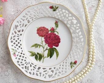 Vintage plate porcelain dish Schumann Arzberg Bavaria Germany No. 8 rose with 22 carat gold edge plate german openwork porcelain