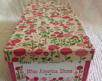 Vintage Miss America Shoes Pink Floral Shoe Box