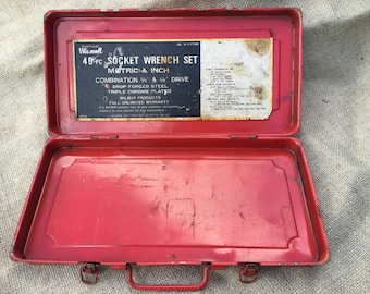 Vintage Small Red Metal Box- Shipping Included
