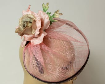 Peach Sinamay fascinator,with silk flowers, Kate Middleton Style Fascinator , Kentucky Derby Fascinator, English Royal,Wedding fascinator
