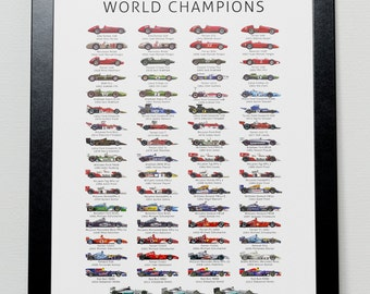 The History of Formula One World Champions Poster- F1
