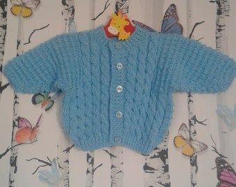 Baby Boy Cardigan, Knitted Cardigan, Turquoise Cardigan, Hand Knitted, Handmade, 0 - 3 Months