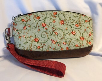 Green with Burnt Red Flowers Wristlet