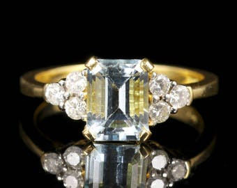 Aquamarine Diamond Ring 18ct Yellow Gold
