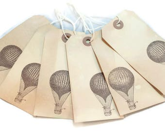 Hot Air Balloon, Gift Tags, Tea Stained Gift Tags, Vintage Style Tags, Steampunk Hang Tags, Merchandise Tags, Journaling Tags, Party Decor