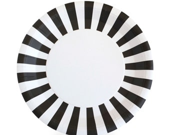 "Plates | 9"" Black Striped Paper Plates 