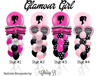 """Pink and Black Balloon Bouquet - Giant 36"""" Balloon Custom Imprinted Barbie-Inspired Silhouette Mixed with Hot Pink or Light Pink and Black"""