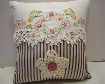 Shabby Country Cottage, French Farmhouse Mattress , Repurposed Embroidered Doily Scarf Pillow, Crocheted Doily