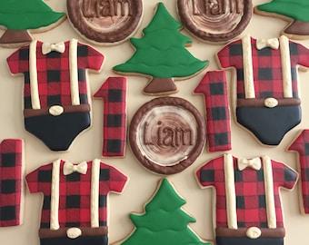 One Dozen Lumberjack inspired Sugar Cookies - Decorated Cookies - Suagr Cookies