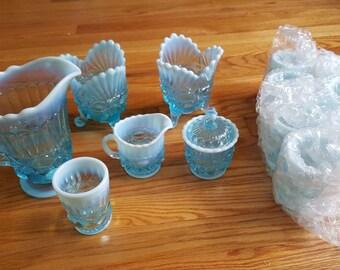 Mosser Eyewinker Aqua Set- pitcher, 8 tumblers, sugar, creamer, 2 compotes
