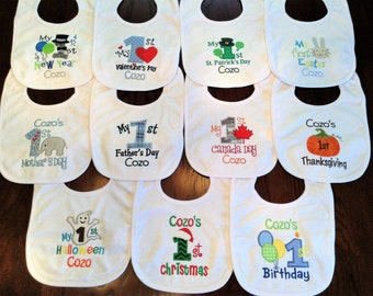 1st holiday bib set, 1st occasion bib set, baby shower gift, personalized, embroidered, first hoilday bib set, my first holiday bib set.
