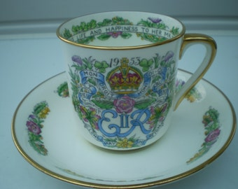 Hammersley & Co China : Cup and Saucer - Queen Elizabeth II Coronation 1953 - British Royalty - Made in England