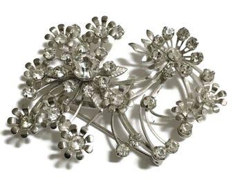 Rhinestone Brooch, Flower  Pin, Silver Tone,  Mid Century Jewelry , 1950s-1960s