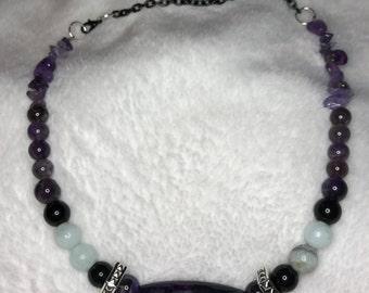 Amethyst, Jade, and Onyx Gemstone Necklace