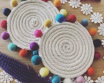 Boho rope coaster with pom pom embellishment