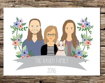 Custom Illustrated family portrait, sentimental gift, personalized wall art, custom family drawing