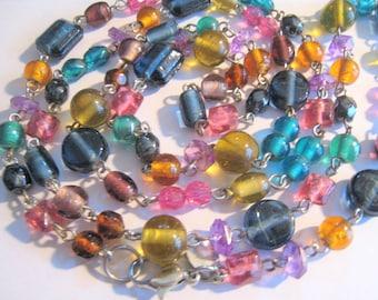 "37"" Long Multi Color Glass Necklace"