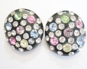 Vintage Multi Color Rhinestone Clip Earrings