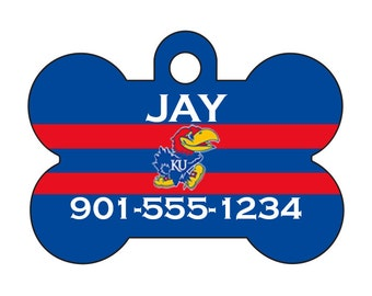 Kansas Jayhawks Personalized Dog Tag Pet Id Tag w/ Name & Number