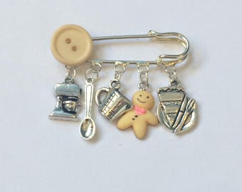 Baking charm pin / gift for a baker/ gingerbread man brooch pin