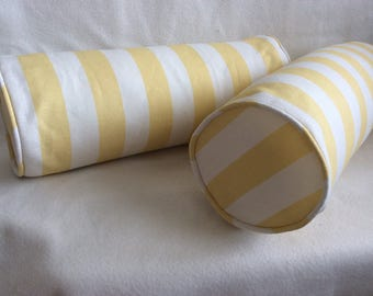 Pair of French Stripe Designer Bolster Pillow Covers - Pale Yellow/ Off White - Custom Piping - 6x19 Covers
