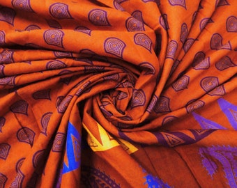 """Inidan Decorative Cotton Fabric For Sewing Designer Paisley Print Orange 100% Cotton 41"""" Wd Crafting Apparel Drape Dress By The Yard ZBC4589"""