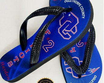 Oglethorpe County Patriots Personalized Flip Flops, OC Recreation Department, Adults & Kids Flip Flops, Sports Fan Sandals, Dye Sublimation